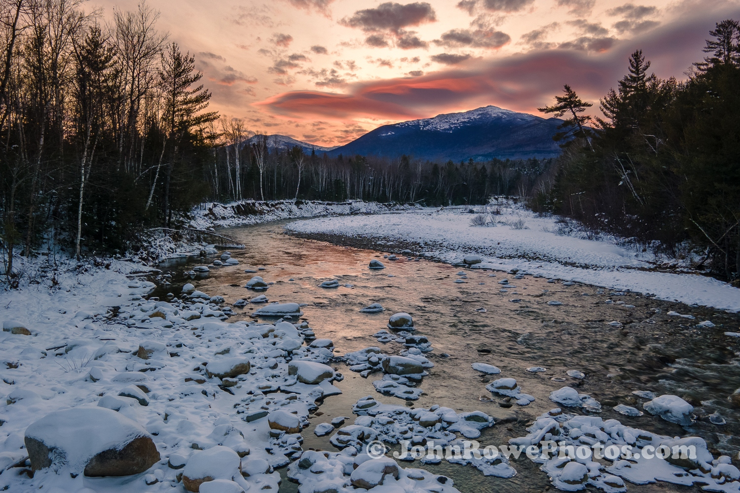 Mt Madison Rises Above The Peabody River in Gorham, NH