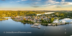 Late Day Sun Shines On Newport, VT Waterfront 3:1 Panorama